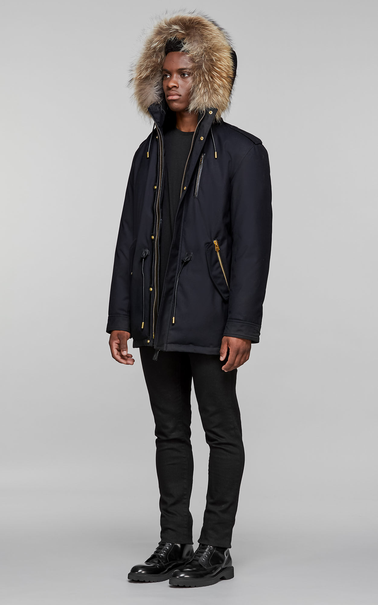 Fur Parkas ... seth-d hip length twill parka with hood and natural fur,navy ... CVVEDIP