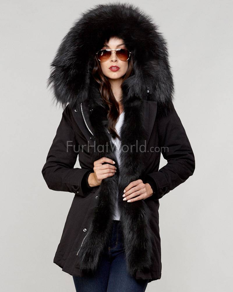 Fur Parkas the colonel finn raccoon fur lined military parka in black ZGVELME