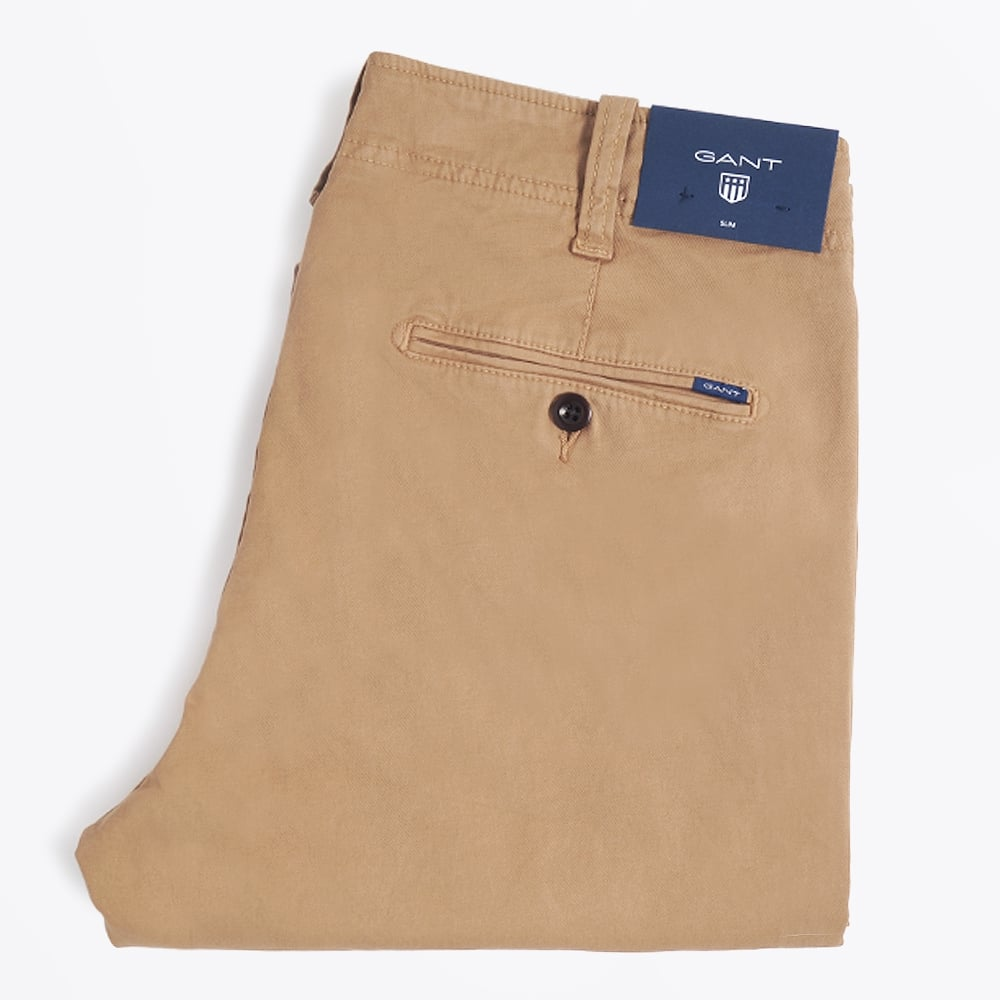 GANT TROUSERS gant - slim fit broken-in chinos - sand APINTLM