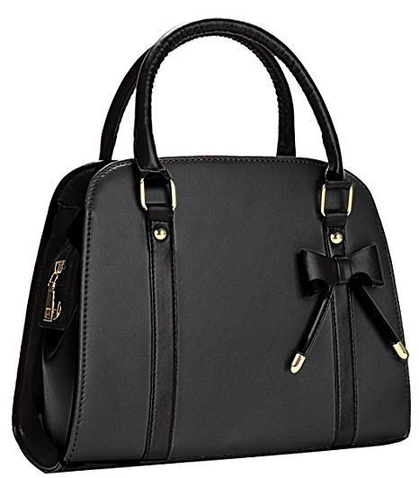 Handbags coofit lady handbag little bow leisure top-handle bags shoulder bag purse  (black) ARNIEHX