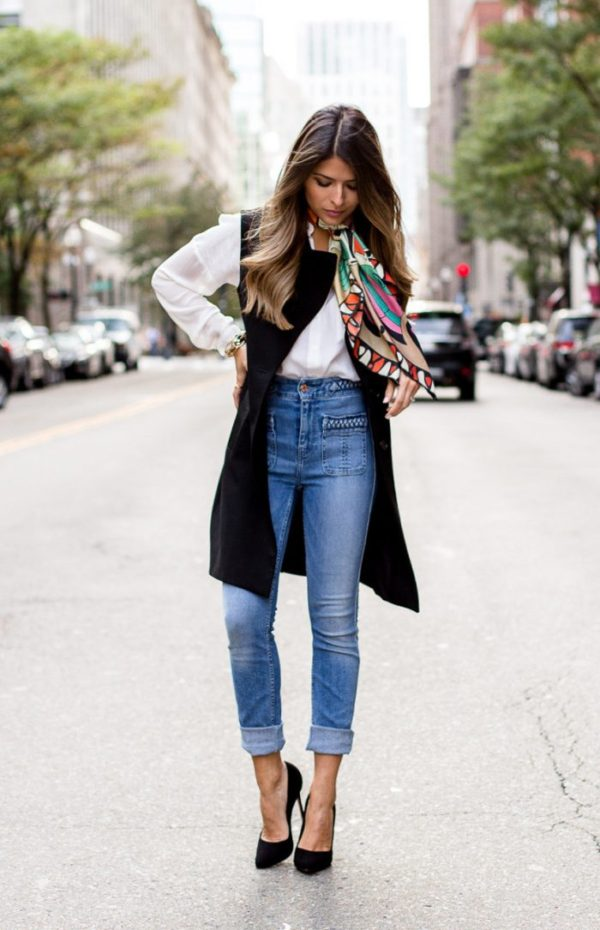high waist jeans style this combo is the ultimate in parisian chic. pam hetlinger layers the look  with a YBVCKWO