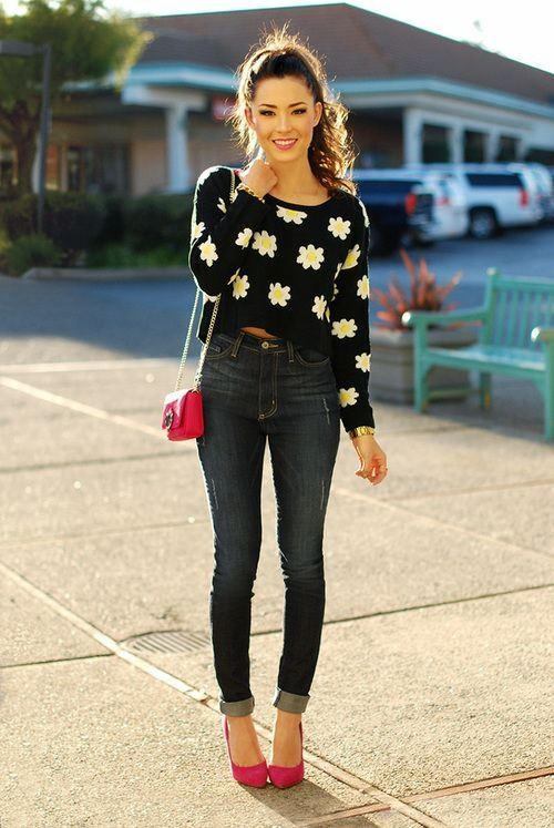 high waist jeans with crop top high waist jeans goes with off shoulder tops, tank tops, crop tops. striped  tops etc. ZJCNKMC