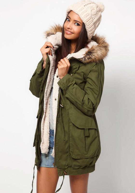 Hooded Parkas army green rivet hooded cotton blend parka coat PLMIYJI