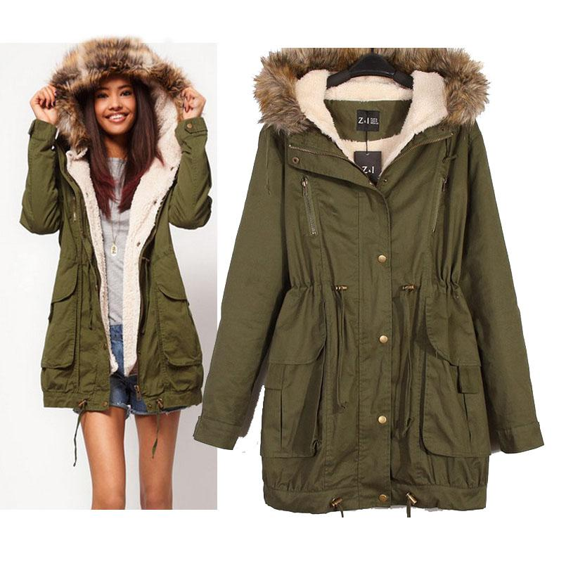 Hooded Parkas best women down coat a parka new faux fur hooded army green outwear winter TSBDBCT