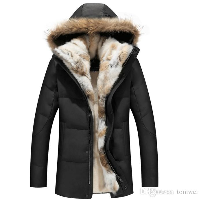 Jackets with Fur for winter 2018 winter down jackets mens fur coat hoodies thick warm outwear overcoat  snow LTVBWVO