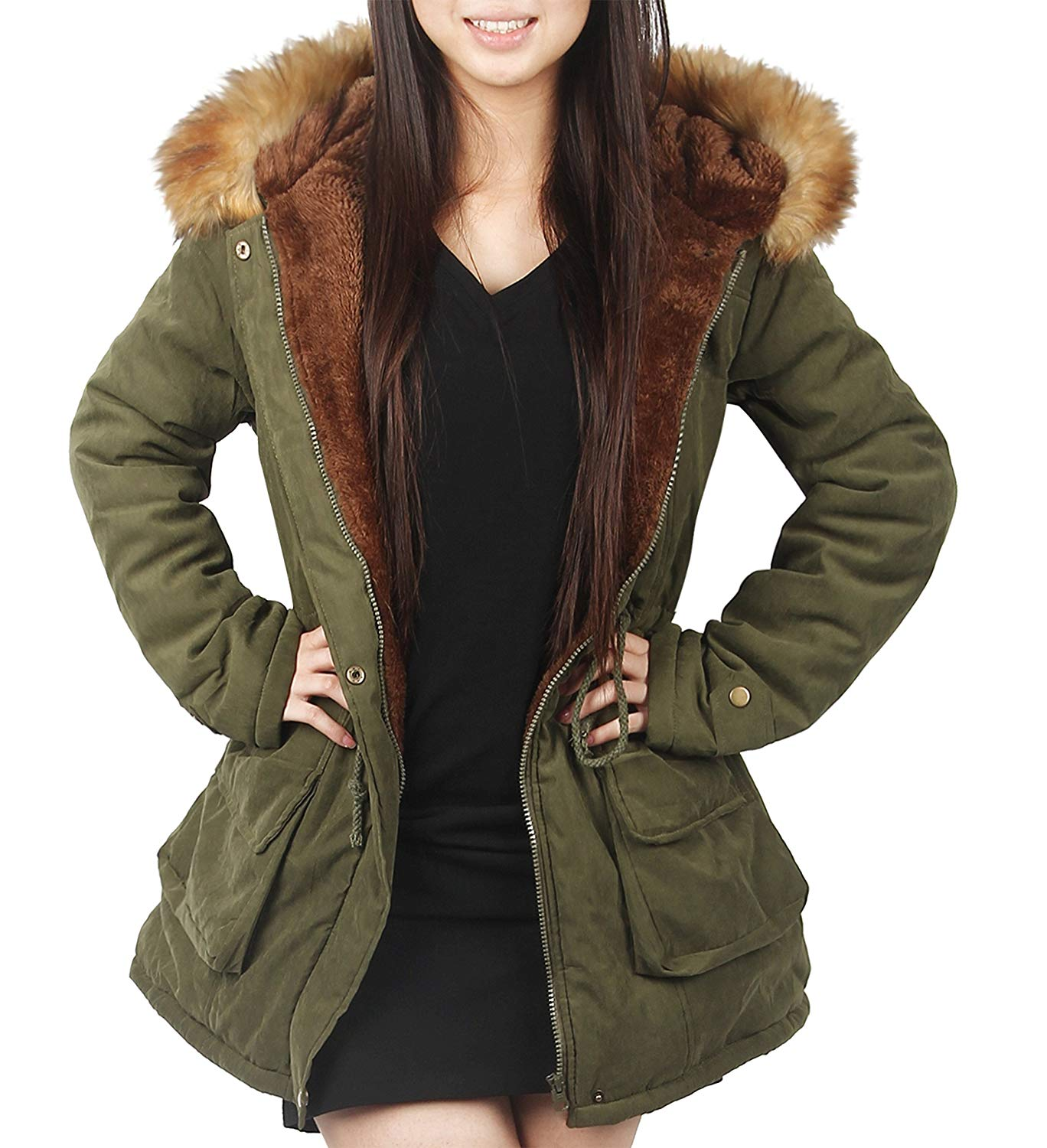 Jackets with Fur for winter 4how womens parka jacket hooded winter coats faux fur outdoor coat at  amazon RHPYKNH