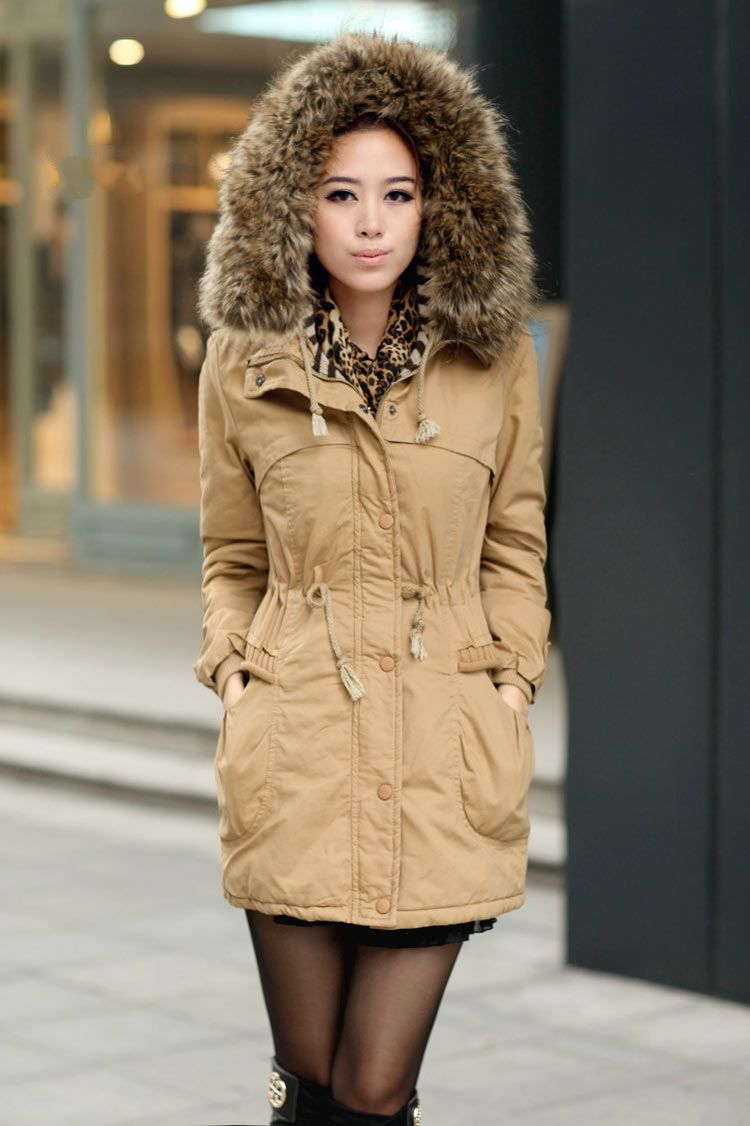 Jackets with Fur for winter womens winter coats faux fur lining parka with fur hood in ochre AMOOSCD