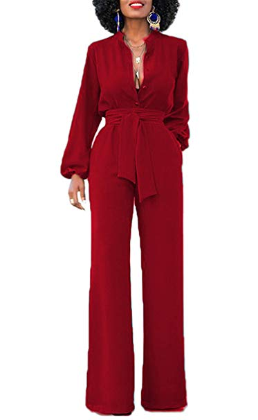 Jumpsuits for women onlypuff long pants jumpsuits for women sexy long sleeve vneck elastic  waist with IBXLXGB