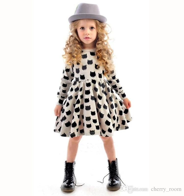 Kids Girls Clothing 2015 fashion europe style girl dresses fall ruffle cotton cat long sleeve  dresses IXQLLMR
