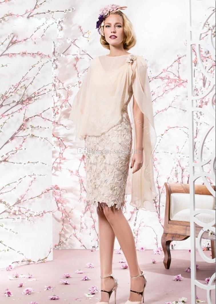 Knee length long dresses for the mother of the bride 2015 beige mother of the bride dresses cheap v-neck knee length applique  lace with ... ARTBCQA