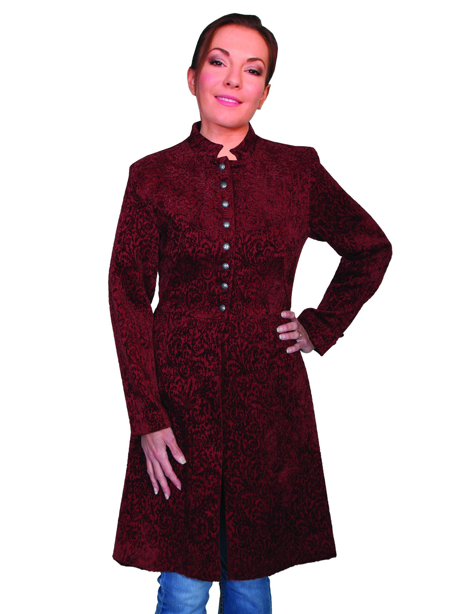 Ladies Frock coat scully ladies wahmaker old west vintage frock coat chenille wine ... RVZJMGY