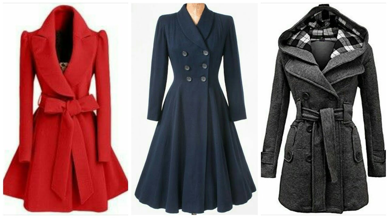 Ladies Frock coat wool coat design frock style ideas for girls OECYGME