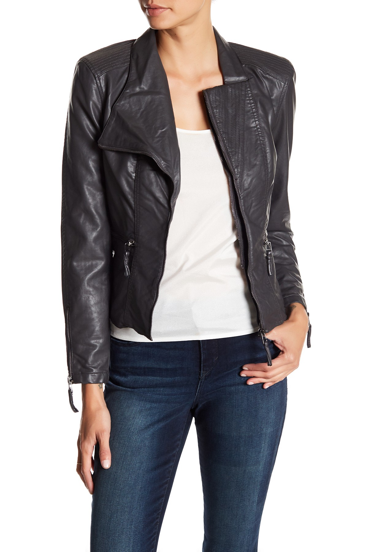 leather jackets image of blanknyc denim faux leather fitted moto jacket GSZTOCY