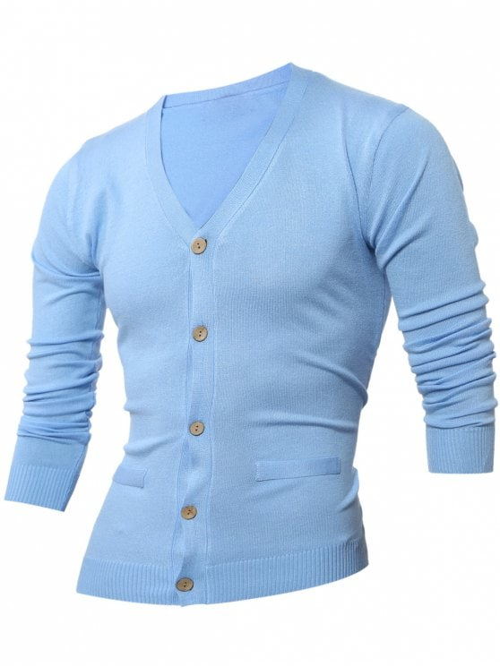Light Blue Cardigans fancy slimming v neck button up cardigan - light blue 3xl ECFBLSI