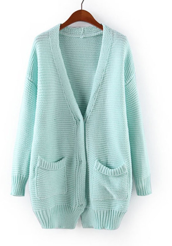 Light Blue Cardigans light blue plain v-neck long sleeve blend cardigan ZLJRCZI
