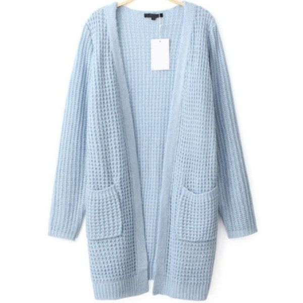 Light Blue Cardigans light blue waffle knit long line loose cardigan ($32) ❤ liked on polyvore  featuring VNUXOJV