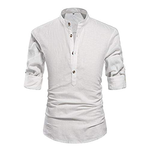 linen shirt mens nitagut men henley neck long sleeve daily look linen shirts white-us m FQSBCLA