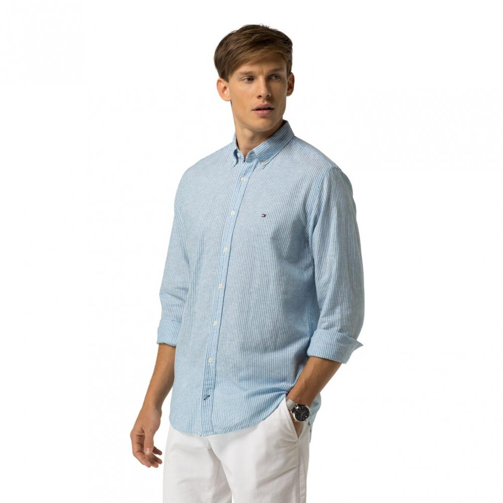 linen shirt mens tommy hilfiger casual shirts - mens ... VVKIINY
