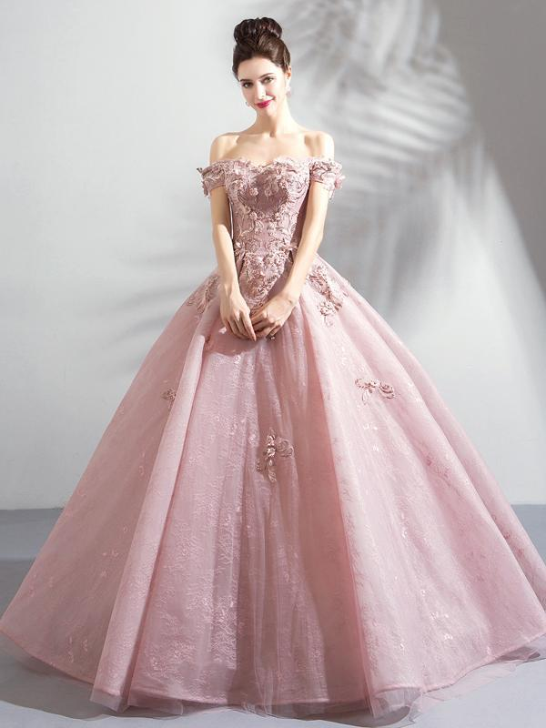 Long ball gowns chic ball gowns off-the-shoulder pink prom dress with lace prom dresses long ICZZTYN
