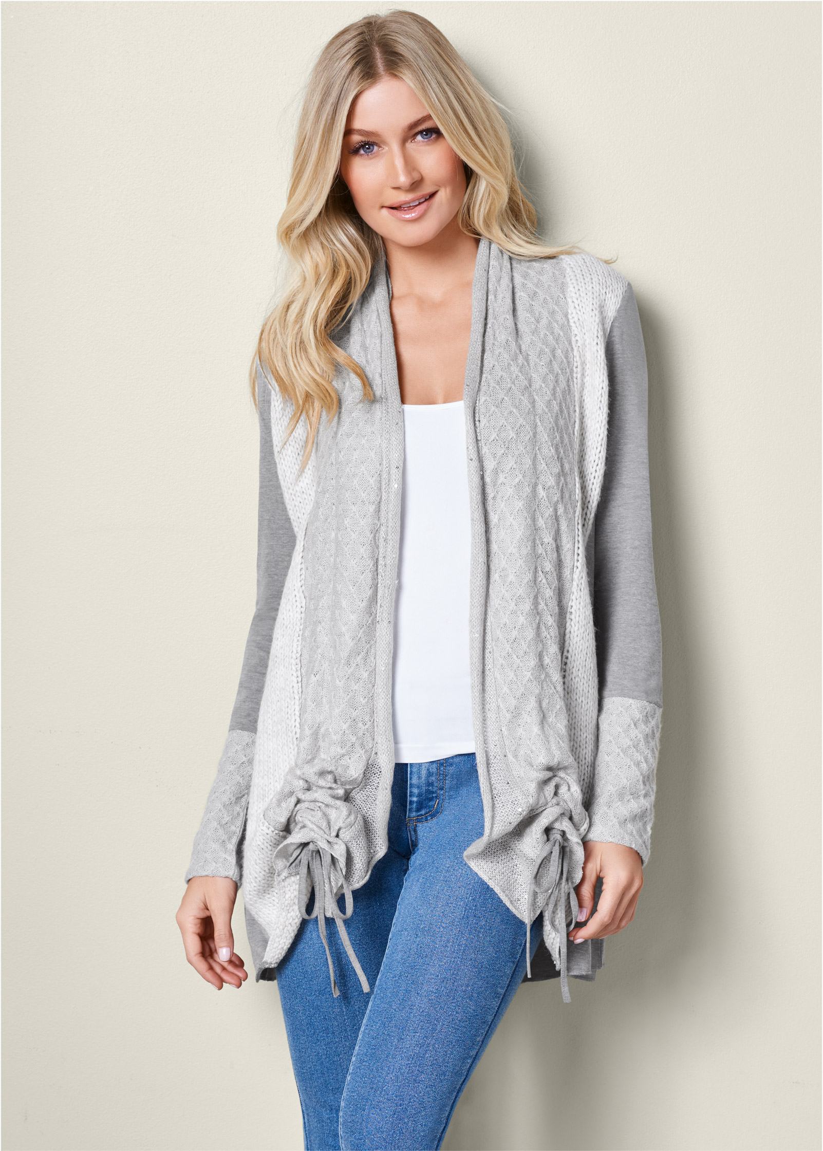 Long Cardigan cozy long cardigan,seamless cami,color skinny jeans,wrap stitch detail  bootie ERNLDJI