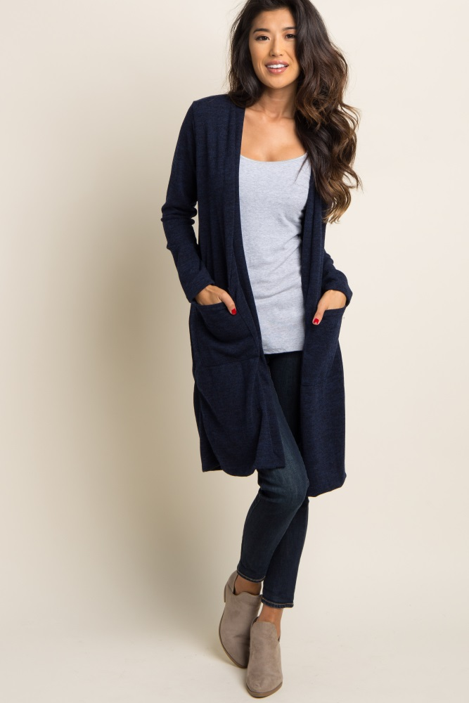 Long Cardigan navy blue suede elbow patch long cardigan LMBNWDR