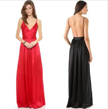 Long Silk Dress milk silk texture long dress spaghetti strap backless maxi dress v neck  sexy dresses to YEAMQEZ