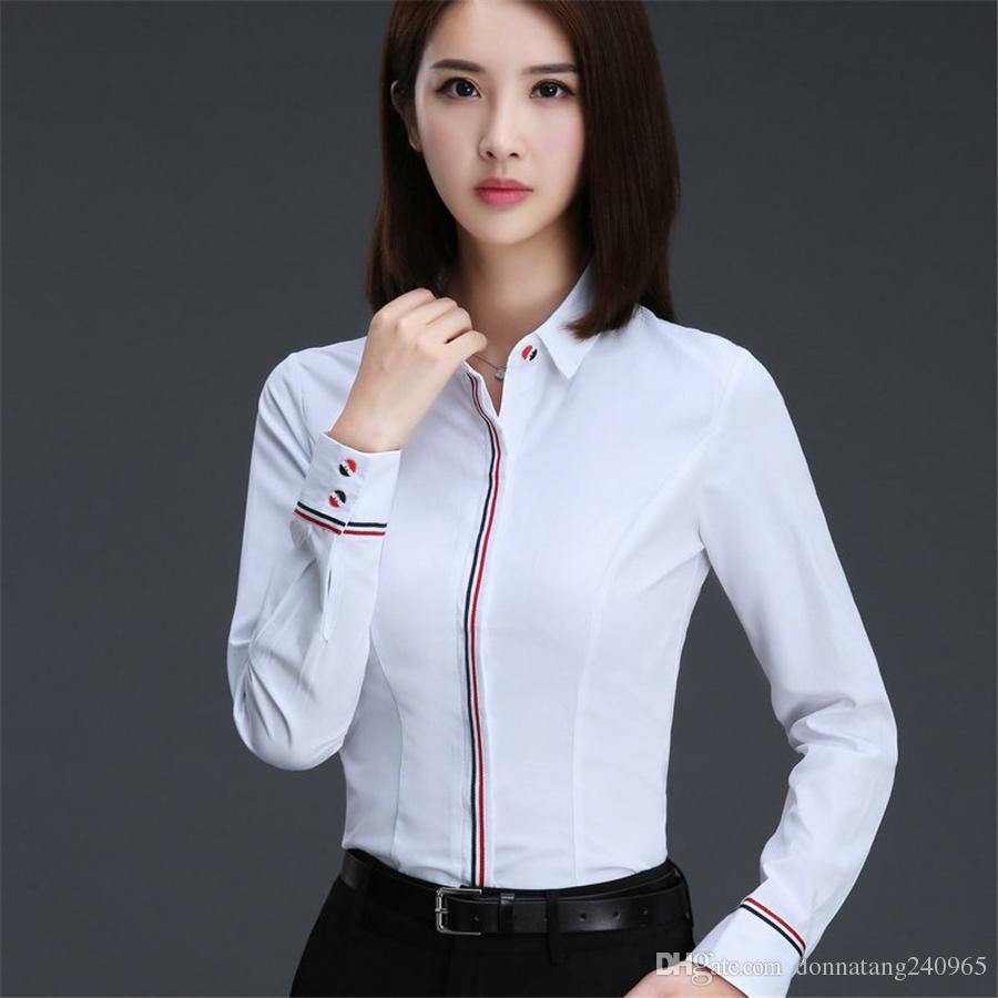 Long Sleeve Blouses 2018 hot blouse shirt women cotton/polyester long sleeve blouses turn down  collar shirts YXJTLBI