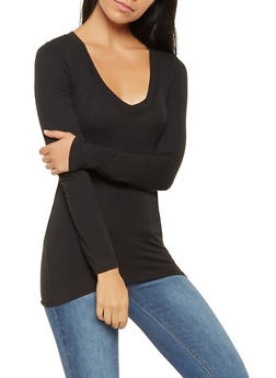 Long Sleeve Tops basic long sleeve v neck tee - 7204054264900 LTOAGVW