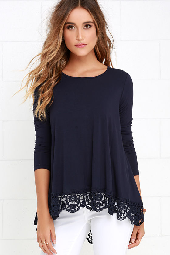 Long Sleeve Tops just like vacation navy blue long sleeve top NEUDVGO