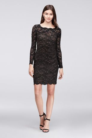 LONG SLEEVED COCKTAIL DRESSES short sheath long sleeves cocktail and party dress - onyx PQVYSXS