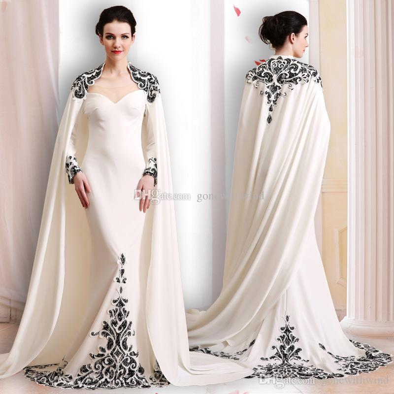 Long sleeved evening dresses elegant silk wrap long sleeves evening dresses 2018 lace appliques  sweetheart neckline sweep TYUHSYT