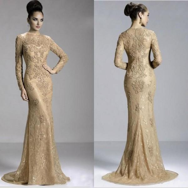 Long sleeved evening dresses gold sexy long sleeve jewel evening dress zipper sweep train formal dresses  with YDKMSCA