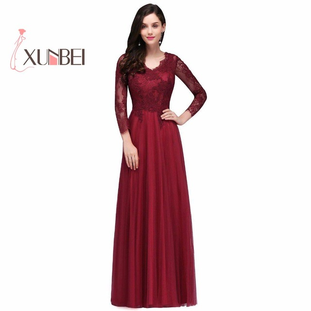 Long sleeved evening dresses vestido de noiva sexy back burgundy lace prom dresses long 2017 long sleeves WWTROSU