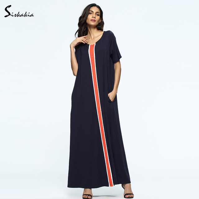 Long tunic siskakia big sizes loose long tunic summer 2018 middle east womens gowns  navy blue orange ZZPCJON