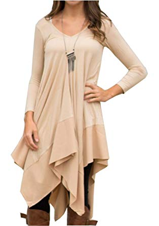 Long tunic womens asymmetrical casual feminine long sleeve tunic shirt dress (asian  size s(us xs OIRBMLN