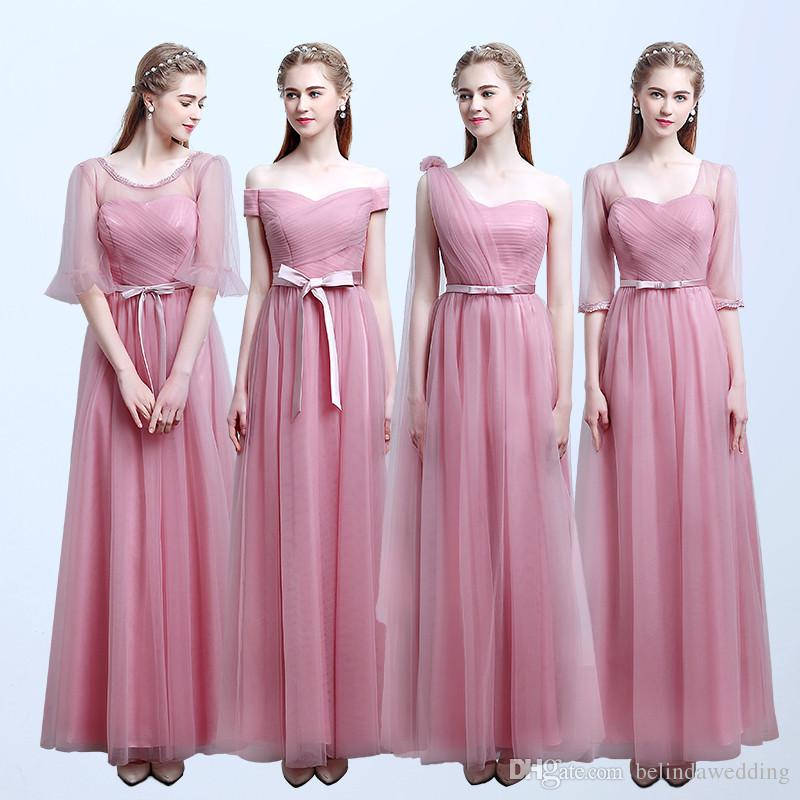 Maid of Honor Dresses cheap bridesmaid dresses pink blush color tulle lace long maid of honor  dresses floor length ZYQDEXW