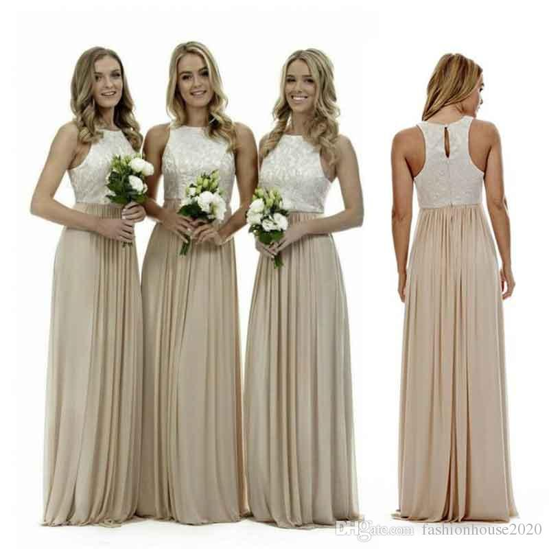 Maid of Honor Dresses sexy long champagne chiffon bridesmaid dresses lace beach bridesmaids dress  plus size wedding guest gowns UAMDQRV
