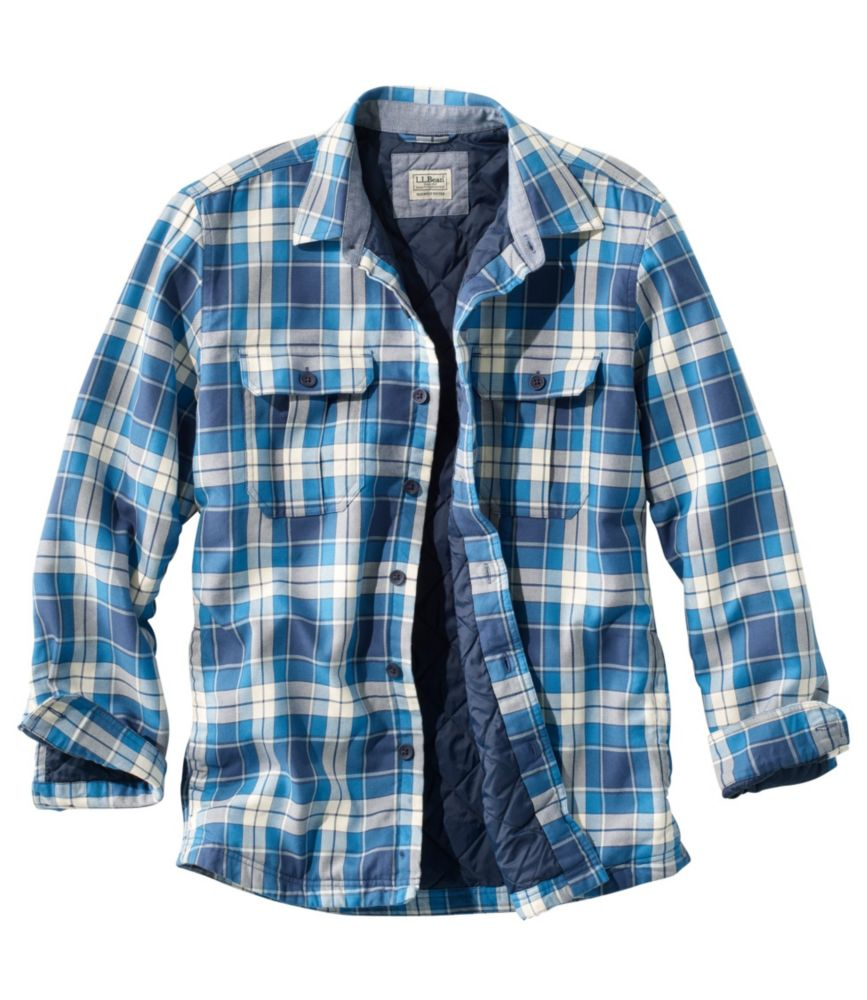 Men's Flannel Shirts primaloft-lined shirt-jac slightly fitted plaid AFFKHVY
