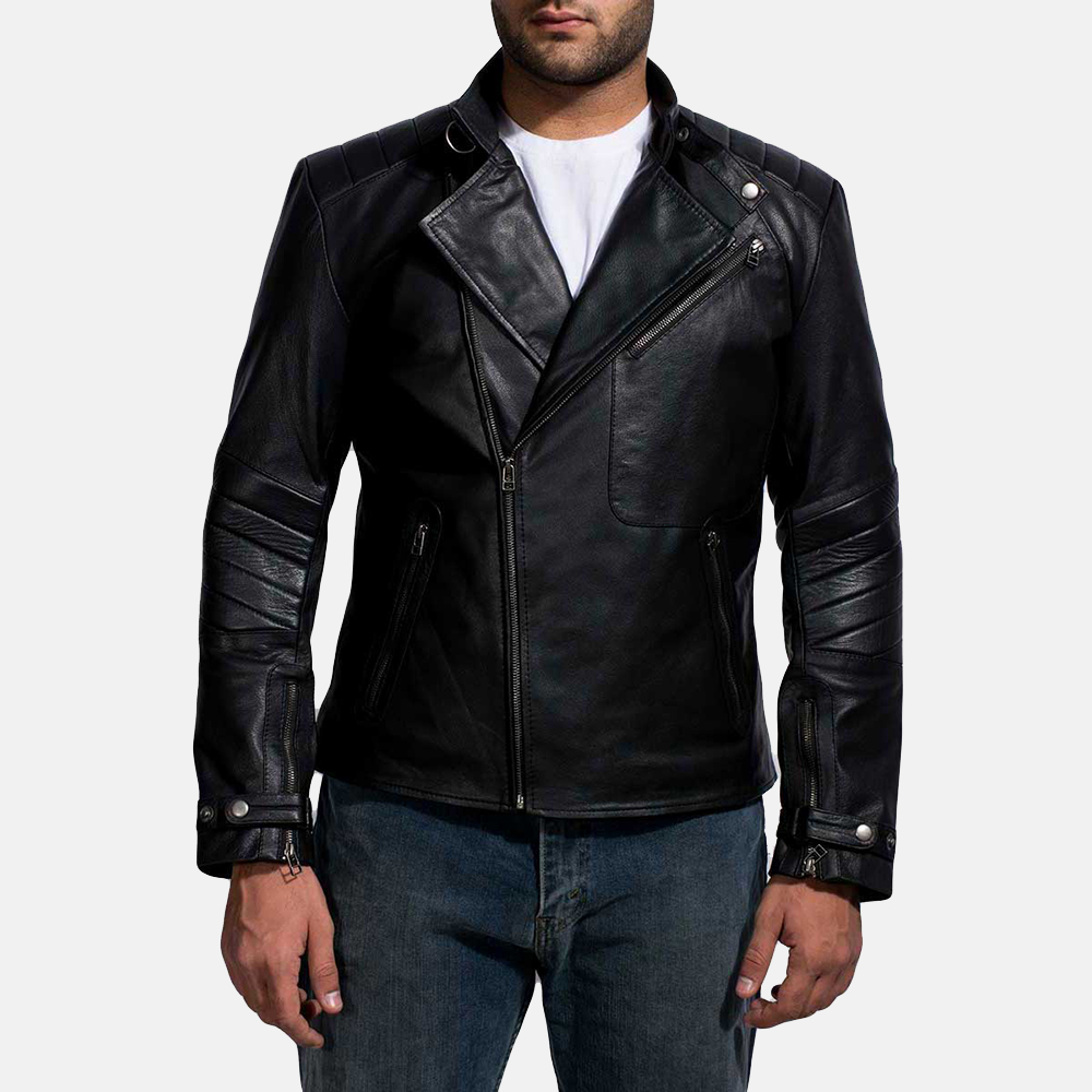 Mens Biker Jackets mens cirsova black leather biker jacket 1 ZTLEWBA