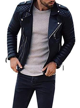 Mens Biker Jackets mens faux leather black biker jacket fashion lightweight bomber moto coat MNPEWXU