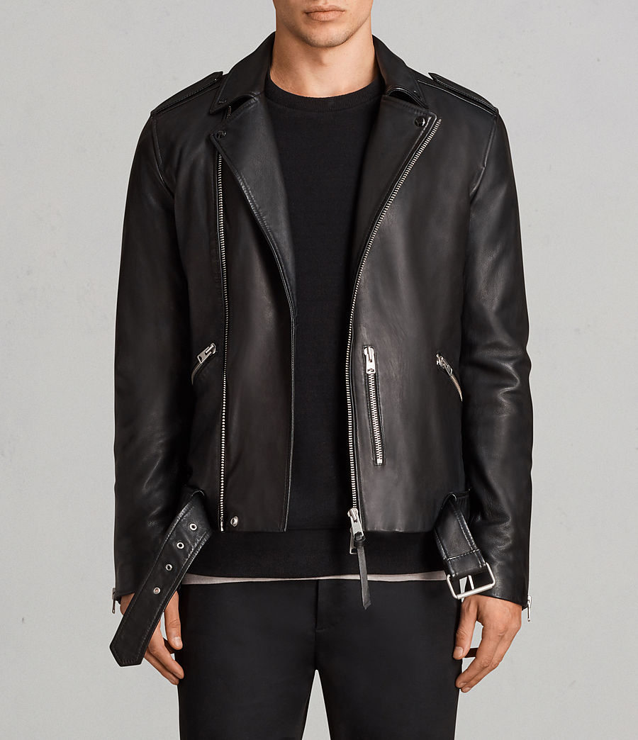 Mens Biker Jackets mens kaho leather biker jacket (black) - image 1 RHKPOKW