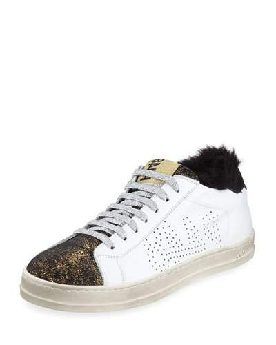 P448 Sneakers p448 john leather low-top sneakers with faux fur UUQJPAR