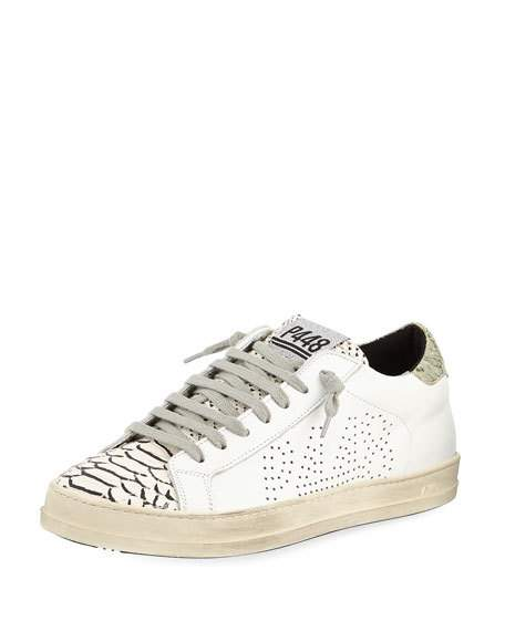 P448 Sneakers p448 john mixed leather low-top sneakers, platinum | neiman marcus JPYCPKO