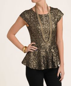 Party Tops eros apparel sleeve sequin peplum top holiday wear, holiday parties, peplum  tops, gold WFDYNUG