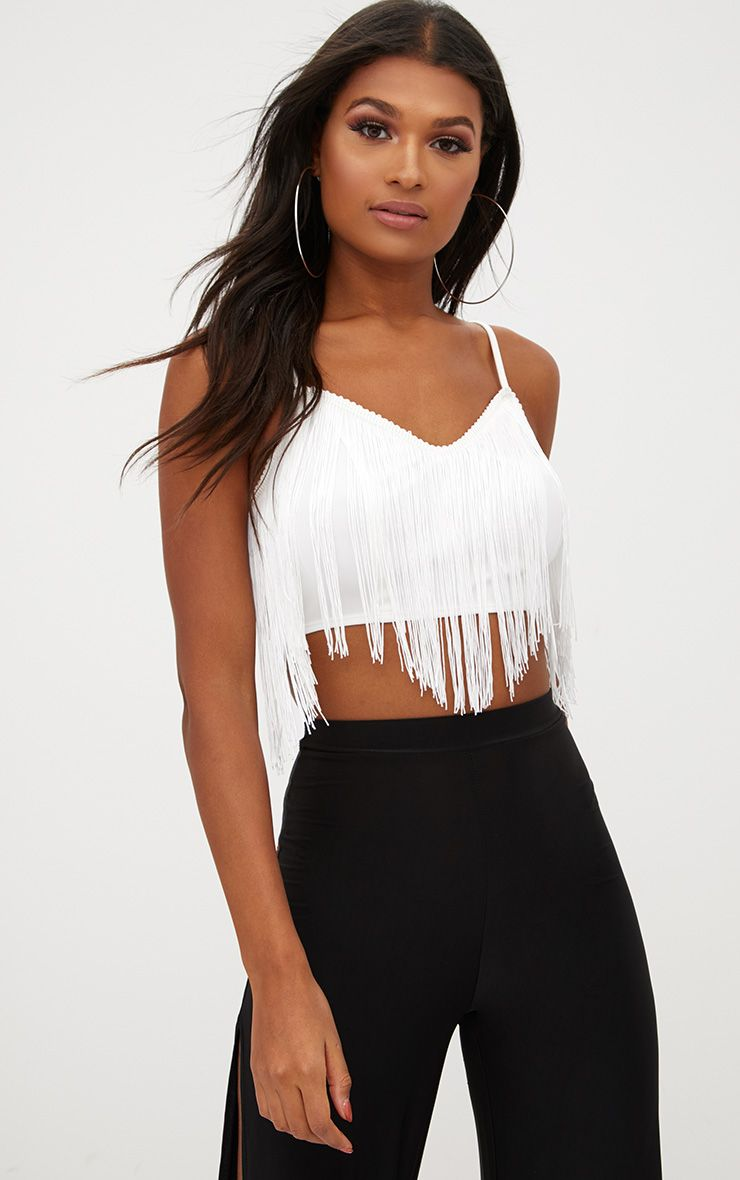 Party Tops white tassel trim crop top IBHXWGZ