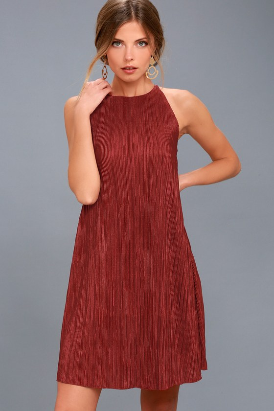 Pleated dress olivia rust red pleated swing dress LIPHQIR