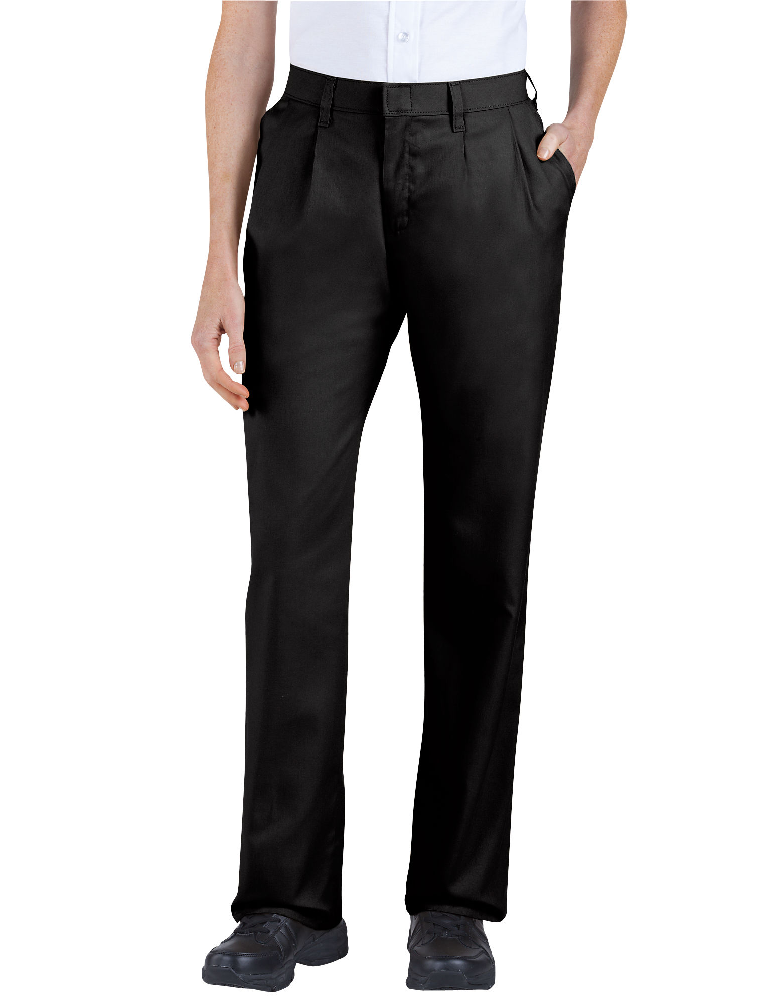 Pleated Pants Women women-s relaxed fit straight leg pleated front pants - black ... OFUGKNX