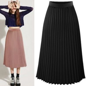 Pleated skirt for women image is loading ladies-women-long-midi-pleated-skirts-elastic-waist- ICABDZR