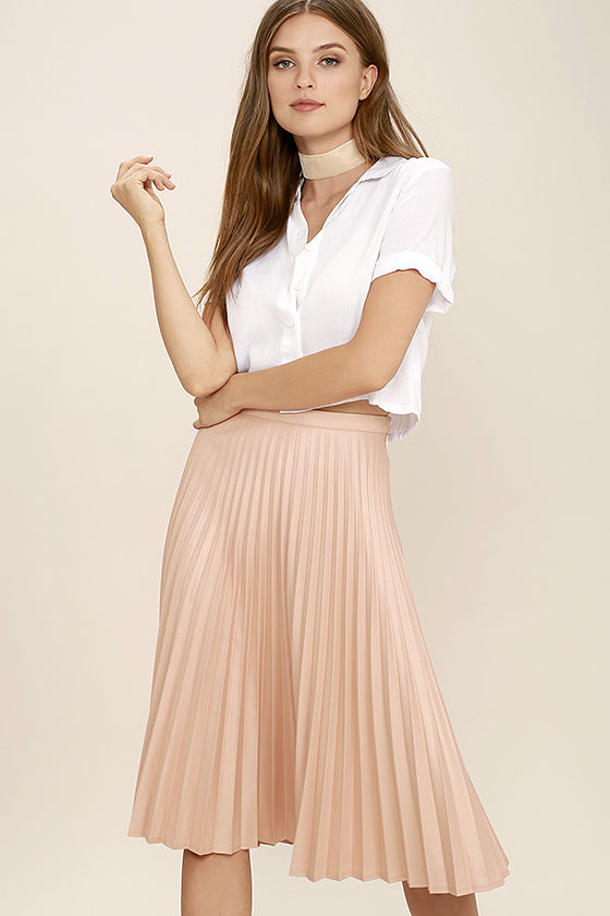 Pleated skirt for women like a phenomenon blush pink pleated midi skirt WRPPDIU