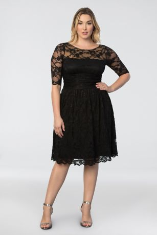 Plus Size Dresses short sheath 3/4 sleeves cocktail and party dress - kiyonna JEQIRHP